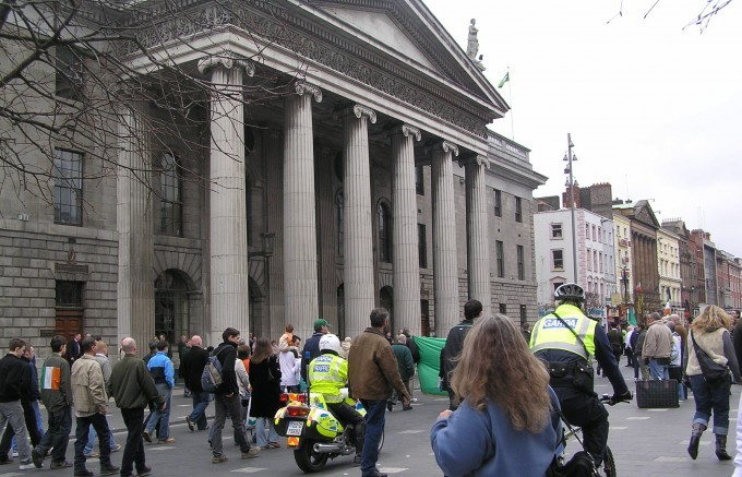Crowds grow outside Dublin's histroical General Post Office (GPO), which was ironically a focal point of the Easter Rising in 1916, whic is being celebrated this Easter Monday, April 01 2013.