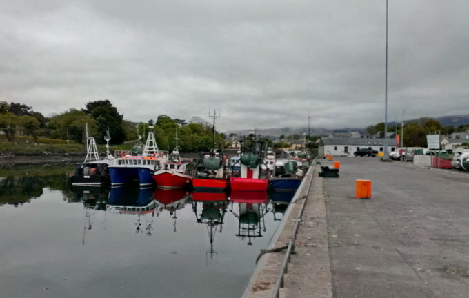 Castletownbere harbour. This port town in County Kerry is Ireland's main white-fish port. Fishing is the main livelihood of people in the area.