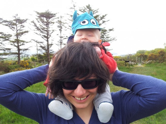 Sasa and baby Liam, out walking to one of the many ancient stone circles in the Kerry area.