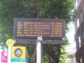 Irish bus sign