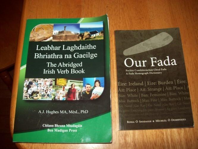 """""""The Abridged Irish Verb Book"""" by A.J. Hughes and """"Our Fada"""" by Rossa Ó snodaigh and Mícheál Ó Domhnaill."""