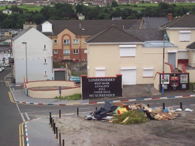 A look into a Loyalist neighborhood from the Derry wall.