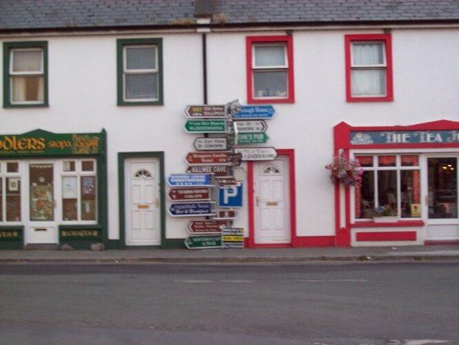Cad as duit? Road sign in Ballyvaughan, Co. Clare. 2008, by Audrey Nickel