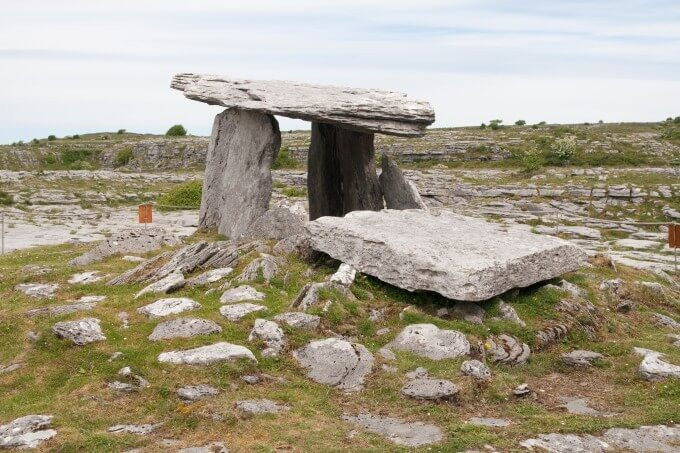 Poll na mBrón ancient dolmen in the Burren region of County Clare, ireland.