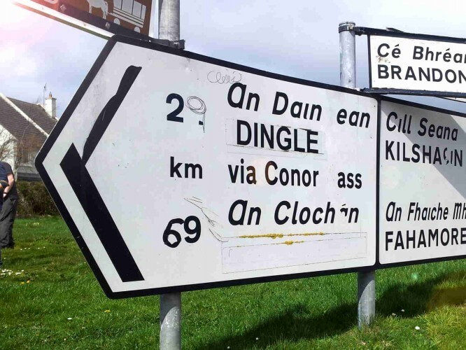 Kerry roadsign in Ireland - with Irish Gaelic